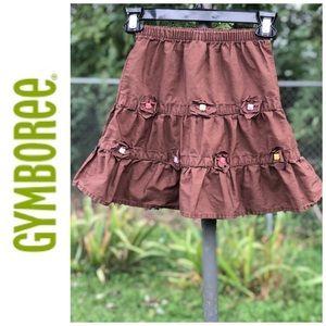 👧 Brown Gymboree Ruffle Skirt w/ Button Flowers